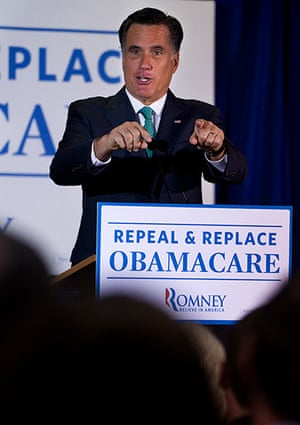 Pointing Mitt: Mitt Romney speaks at a medical device company in San Diego, California