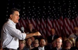 Pointing Mitt: Mitt Romney speaks at an American Legion post in Arbutus, Maryland