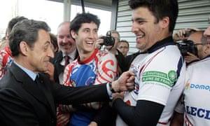 Nicolas Sarkozy jokes on the campaign trail