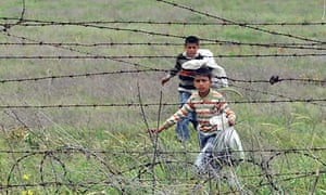 Syrian refugee children near a refugee camp in Hatay province, Turkey
