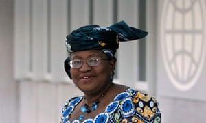 World Bank presidential nominee Okonjo-Iweala of Nigeria leaves after an interview in Washington