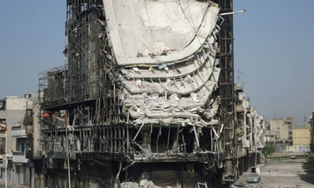 A picture released by the News Network shows damage allegedly caused by shelling by Syrian forces