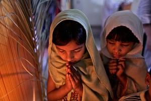 Orthodox Easter: Pakistani Christian Orthodox girls pray in Islamabad, Pakistan