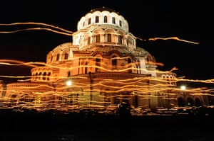 Orthodox Easter: Worshippers walk with candles at Alexander Nevski cathedral, Sofia Bulgaria