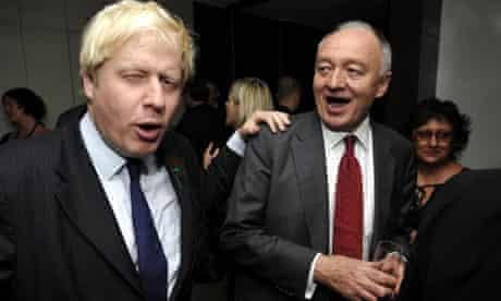 Mayor of London Boris Johnson with his opponent Ken Livingstone