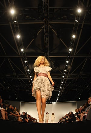Jaeger: A model on the catwalk at the Jaeger Spring/Summer 2009 collection