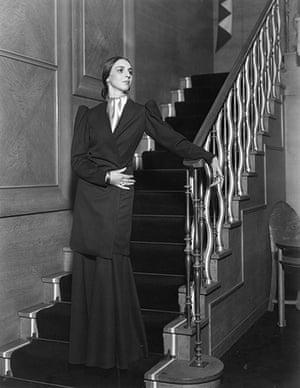 Jaeger: October 1932: Andrea Mijinska models an evening dress
