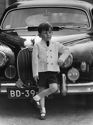 Jaeger: January 1971: A boy models a knitted Italian double breasted jacket