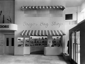 Jaeger: March 1935: The bag shop in Jaeger's in Regent street, London