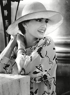 Jaeger: October 1985: Anne Bezamat models yellow print dress and hat