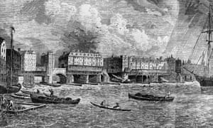 Engraving of shipping on the Thames near London Bridge, circa 1750