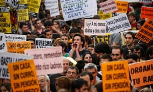 Youth groups in Madrid protest at the high unemployment rate
