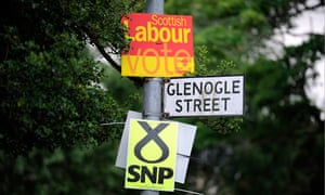 Labour and SNP banners in Glasgow
