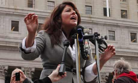 Naomi Wolf speaks at a news conference