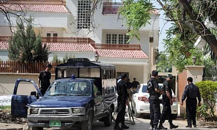 Pakistan security personnel at the house where Osama bin Laden's family were believed to be held
