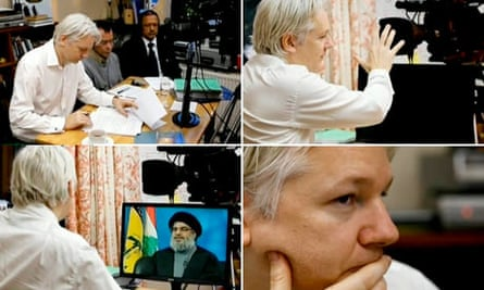 Composite of Assange's new interview show