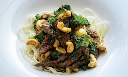 Stir-fried beef with kale and cashews