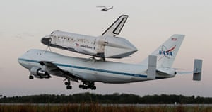 Space Shuttle: The space shuttle Discovery takes off