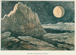 The Royal Society: Depiction of the lunar landscape 'at sunset'