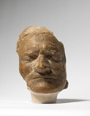 The Royal Society: Full face view of the death mask of Isaac Newton