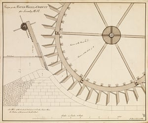 The Royal Society: Design for the waterwheel and conduit for Scrooby mill