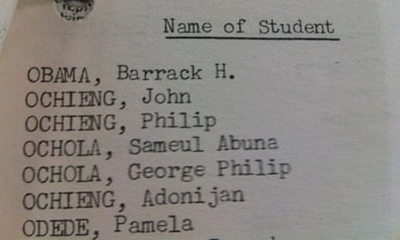 Barack Obama's father tops a list made by British colonial officials of Kenyans studying in the US