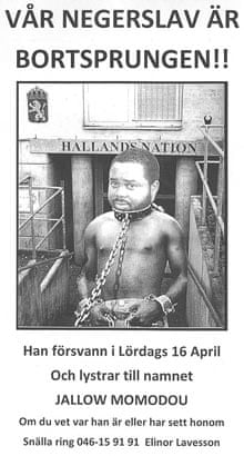 A poster depicting Jallow Momodou as a slave