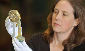English Heritage curator Susan Harrison with the crozier discovered at Furness Abbey