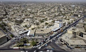 An aerial view of of Baghdad where three Shia neighbourhoods in the capital have been hit by blasts