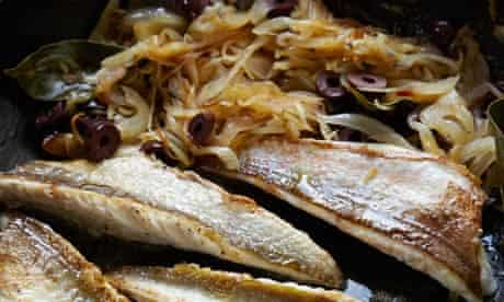 Gurnard with melted onions and black olives