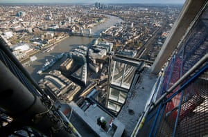 The Shard: A builder at work on the 66th floor of The Shard, London Bridge Quarter