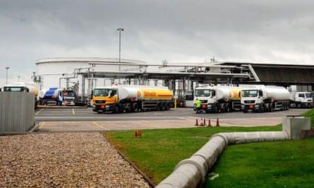Petrol tankers at Kingsbury depot in Warwickshire