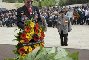Holocaust memorial: Second World war veterans attend a wreath-laying ceremony