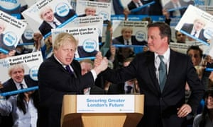 Britain's PM Cameron and London Mayor Johnson