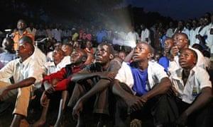 Ugandans watch the Kony 2012 video