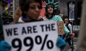 Occupy Wall Street members march on Brooklyn bridge