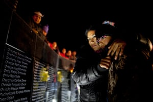 Falklands war anniversary: People look at names of Argentinian soldiers at the war memorial in Ushuaia