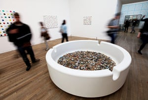 Damien Hirst: One of Hirst's sculptures, a giant ashtray, fills one of the galleries