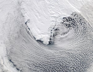 Satellite Eye on Earth: Cloud streets Around Southern Greenland