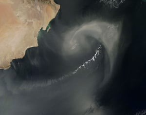 Satellite Eye on Earth: dust and clouds approximated a paisley pattern over the Arabian Sea
