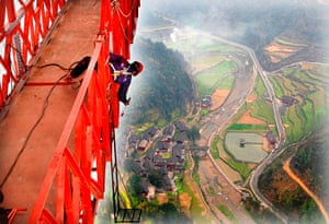 Suspension bridge: Aizhai Long-span Suspension Bridge in Jishou, Hunan, China - 31 Mar 2012