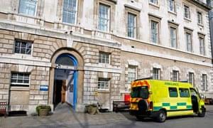 Ambulance outside St Bartholomew's hospital, London