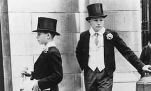 Eton schoolboys in their formal uniform