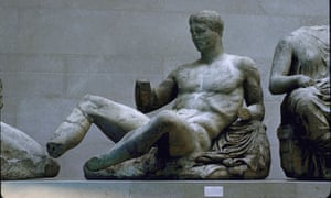 Male figure from pediment of Partheon, Athens; part of Elgin marbles collection at British Museum.
