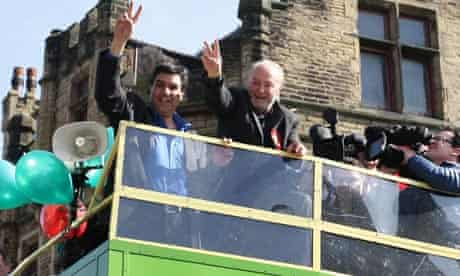 George Galloway waves to supporters following his victory in last week's Bradford West byelection