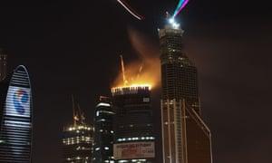 Huge fire engulfs top of Russian skyscraper