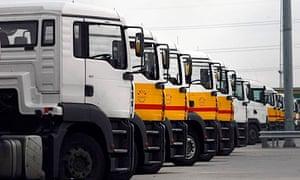 Fuel tanker lorries at Coryton West Site, near Essex