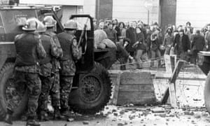 Catholic demonstrators and British troops during Bloody Sunday