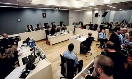 Anders Behring Breivik (centre) at his trial in Oslo, Norway