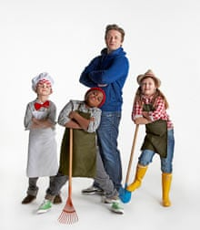 Jamie Oliver with kids from Rotherfield Primary School